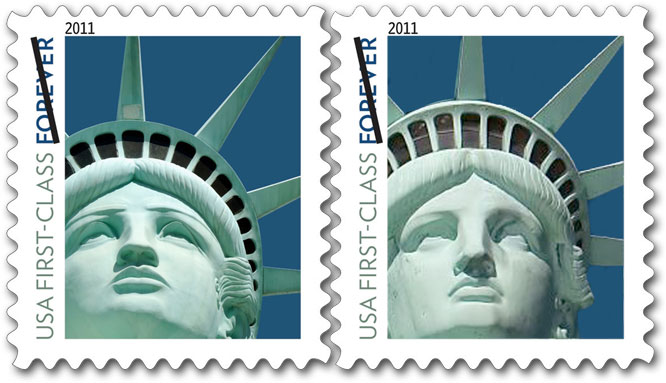 Statue of Liberty Stamp compared to real statue of Liberty